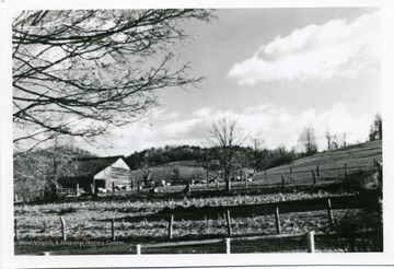 'The sheep barn on Ellison farm built by Jesse Ellison ca. 1835. Log barn had shed and loft added at later date.'
