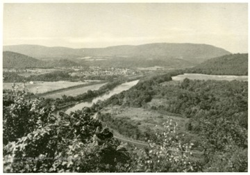 'Potomac Valley Panorama West of Berkeley Springs on Highway 9.  One of the most magnificent views in the eastern section of W. Va., is this panorama from Capon Mountain.'