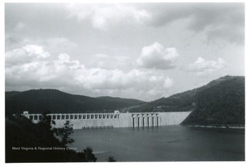 Distant view of the Bluestone dam in Summers County.
