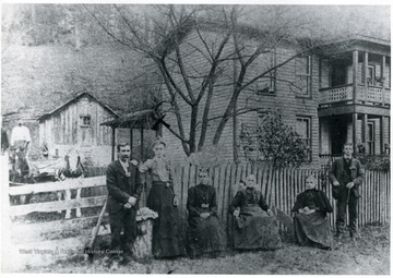 From left to right: Bill Mutsby, Jay Bayne, Jim Conaway, Harriet Cain Conaway, Mrs. Bayne, and Bell Maulsby, two unknown.