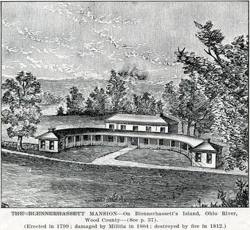 A drawing of the Blennerhassett Mansion located on Blennerhasset Island in Wood County on the Ohio River.  The mansion was erected in 1799, damaged by Militia in 1804, and destroyed by fire in 1812.