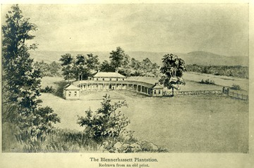 View of the Blennerhassett Plantation redrawn from an old print.
