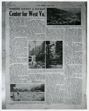 Photographs of some tourist attractions in Webster County shown in the West Virginia Farm News.
