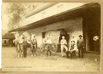Men in front of a Livery Stable, New Martinsville, Wetzel County, W. Va.