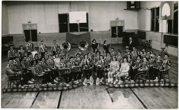 Photograph of the Bruceton High School Varsity Band in uniform.