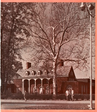 View of Elizabeth Moore Hall in West Virginia is shown on the cover of West Virginia University Alumni Magazine, Volume 16, Number 3, Winter 1951.