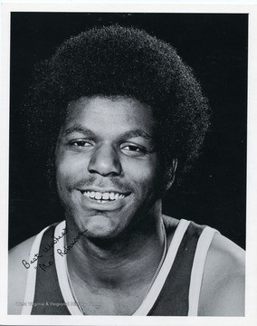 Autographed photograph of Maurice 'Mo' Robinson, a member of the West Virginia University Basketball Team.