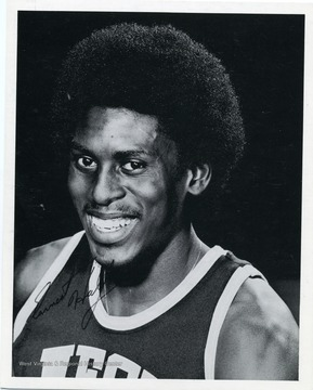 Autographed photograph of Ernie Hall, guard of the West Virginia University Basketball Team.