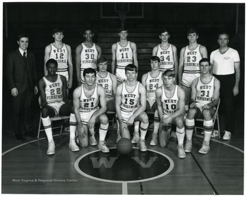 Kneeling left to right- Dave Cicci, Ike Harris, Larry Pugh.  Sitting left to right- Larry Harris, Gary Reichembecher, Mike Carson, Larry Campbell.  Standing left to right- Greg Zimm, _, Rick Davis, Levi Phillips, Harold Black, Joe Chrzaszcz, Buo Henderson, Coach Chuck Wimsor.