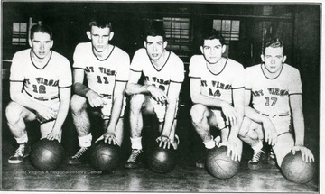 Babes of the Wood who won 12 of 17 games during the season and a place in the National Invitation Tournament at New York.  Left to right- Bob Carroll of Wheeling, Jack Dial of Huntington, Jim Walthall of Princeton, Leland Byrd of Matoaka, Dave Wilson of Huntington.