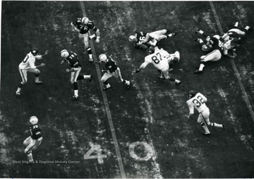 Overhead shot during a kickoff.