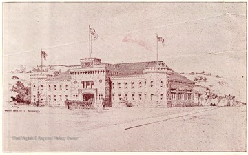 This drawing has the Armory with Corps of Cadets in front of the building.
