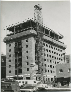 Construction of Arnold Apartment Building, corner of Willey Street and Prospect Street.