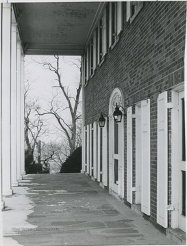 View of front porch of Phi Kappa Psi building.