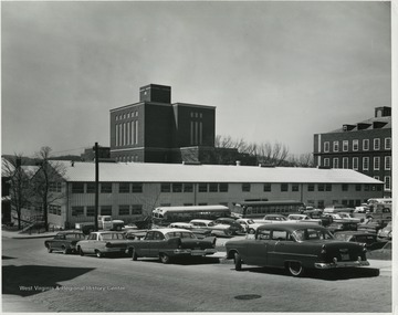View of Temporary Engineering Sciences building located on WVU's downtown campus adjacent to Clark Hall where the Chemistry Annex Building is today.  This building was referred to as the 'Tin Can'.