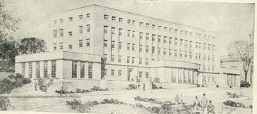 Engraving of the new Mineral Industries Building, West Virginia University, which will house Geological Survey, Department of Geology, School of Mines and Chemical Engineering.