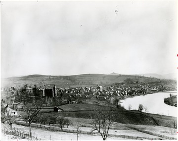 Written on the back of photograph: 'Town and Campus in 1895 and 1945; two communities and one city looking forward to another two hundred years.'