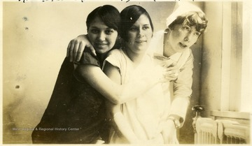 'Miss Toler, Miss Duffy, and Miss Heater' (left to right) pose for a photograph in the summer of 1927 at the Hopemont Sanitarium.