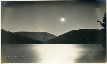 Moon rising over the newly formed Cheat Lake.