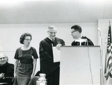 Left to Right: Mrs. Stewart, Irvin Stewart, Professor Emeritus of Political Science; Harry Heflin, Vice President of Administration and Finance, Former Acting President.