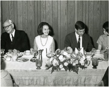 The yearbook for 1966-1967 was the large Centennial edition and it was dedicated to Dr. Oliver P. Chitwood who attended the dinner with his wife. From left to right: Dr. Oliver P. Chitwood; Bettijane Christopher Burger; John Gray, yearbook advertising manager; Paige Bouldin, Gray's assistant.