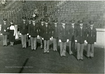 WVU ROTC Honor Guard in formal uniform with gloves pose in Mountaineer Field on November 15, 1952 on a Game Day against V.P.I.