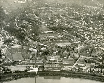 An aerial view of downtown campus during WVU vs Pitt football game.