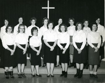 Pledges of Kappa Phi, Methodist Women gather for a group portrait.
