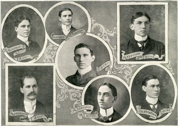 Top three: Frankenberger, Assistant Advisory Editor; Neely, Business Manager; Miller, Associate Editor. In middle: Poe, Editor-in-Chief; Bottom three: Ireland, Associate Editor; Shaffer, Associate Editor; Six, Illustrative Editor.