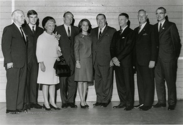 Student Body President David Hardesty with WVU President Heflin, Senator Jennings Randolph, Hubert H. Humphrey and Congressman Harley Staggers, among others.