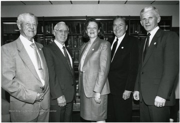 From left to right: Harry Heflin, Paul Miller, Diane Reinhard, Elvis J. Stahr, and Neil S. Bucklew.