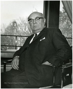 'Famed international figure Paul-Henri Spaak appeared at the WVU 100th Anniversary observance Nov. 2 1967'