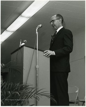 'President of Chatham College Edward Eddy speaks at Mar. 23-27, 1967 international meeting of the Association of Women Students held at WVU during the 100th Anniversary Year.'