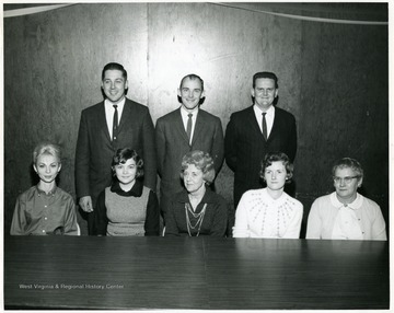 A group portrait of Mountainlair staff: Mrs. John Mascali, Secretary to the Director (Bottom row middle) and  Ruth Conklin, Foodservice (Bottom row far right) are identified.
