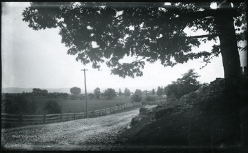 '116.D.(70); August 1, 1884, Friday 10-25 am; bright sun; Camera stands at the entrance to the grounds of a fine old house on the right hand. Boy on horseback just behind the camera wanted to be taken, sorry I didn't. View is looking East at Berryville. The Pike turns at right angle toward the left to Harpers Ferry.'