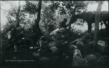 A photograph of a group of people eating a meal on rocks in a wooded area with a horse in the background. '181.D(107); Aug. 8 Fri. 1:35 pm'