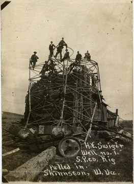 'H. E. Swiger Well, No. 1, S.P. Co. Rig pulled in, Shinnston, W. Va.'