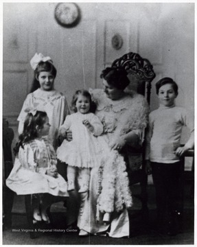 'Her Children; Elizabeth, Charles, Virginia & Carolyn.'