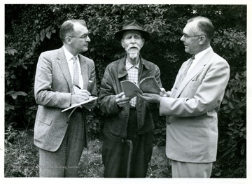 'William Hornsby (center) being interviewed by Rene Zabeau (left) and Glen Armstrong, Educ. Dir. W. Va. SFL.'