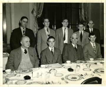 Back row on the further left: E. A. Carter, President W. Va. State Federation of Labor, second from the right on the back row is John Dean--winner of the Essay contest.  Also included State Superintendent of Schools Dr. W. W. Trent, County Superintendent of Schools, Virgil L. Flinn; Principal of Stonewall Jackson High School Professor Horner.   Ronald Bowley, David McClure, Dane Bogges and Theodore Smith are runner ups.