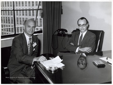A photograph of Senator Hoblitzell (left) seated with an unidentified man. 'In connection with the Interparliamentary Union Conference, 1958.'