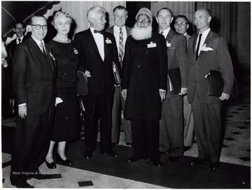 'Senator John D. Hoblitzell, Jr. on far right. In center (with beard) H.S. Suhrawardy (former premier of Pakistan); Taken at the annual conference of the Interparliamentary Union in Rio de Janeiro, Brazil, 1958.'