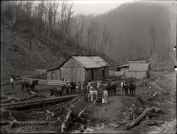 A view of a logging camp.