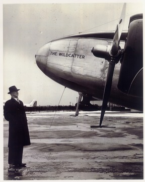 Michael Benedum and his plane 'The Wildcatter' at the Benedum Airport in Bridgeport, W. Va.