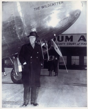 Michael Benedum and his plane 'The Wildcatter' at Benedum Airport in Bridgeport, W. Va.