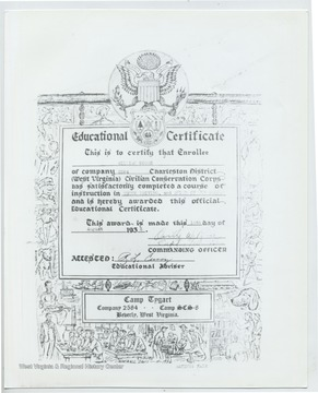 Certificate reads 'This is to certify that Enrollee William Moore of the company 2584 Charleston District (West Virginia) Civilian Conservation Corps has satisfactorily completed a course of instruction in Truck Driving and Rules of the Road and is hereby awarded this official Educational Certificate. This award is made this 18th day of August 1936.' Commanding Officer: Orville W. Rice Accessed: R.L Curry (Educational Adviser) Camp Tygart, Company 2584, Camp SCS8 Beverly, W.Va.
