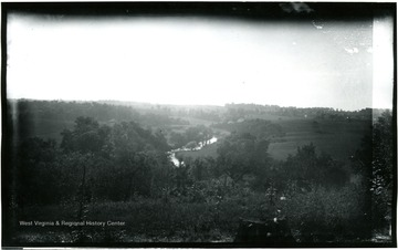 A view of Antietam Battlefield from Pry House (McClellan's headquarters) looking between East and West woods; the photograph taken on Wednesday at 4:48 pm; 97.D.I.C.166.