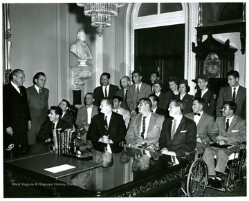 Those who identified are: Senator William Knowland, Vice President Richard M. Nixon and Senator John D. Hoblitzell, Jr.  (back row, second from left).