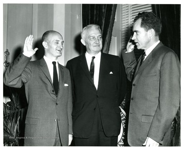 Left to right, Senator John D. Hoblitzell, Jr., Senator Chapman Revercomb and Vice President Richard M. Nixon.