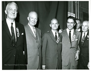 From left to right: Senator Chapman Revercomb, President Dwight Eisenhower, Senator John D. Hoblitzell, Jr. and Governor Cecil Underwood.